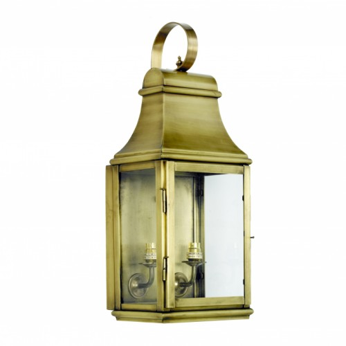 """Warrington"" Wall Lantern Finished in Antique Brass"