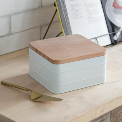 White Cake Tin with Beech Wood Lid