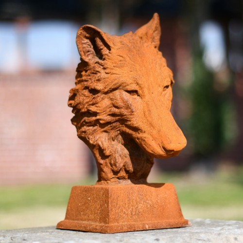 Wolf Garden Bust Created From Cast Iron