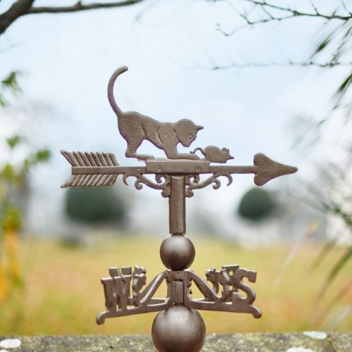 Standard Rustic Cat & Mouse Weathervane Topper