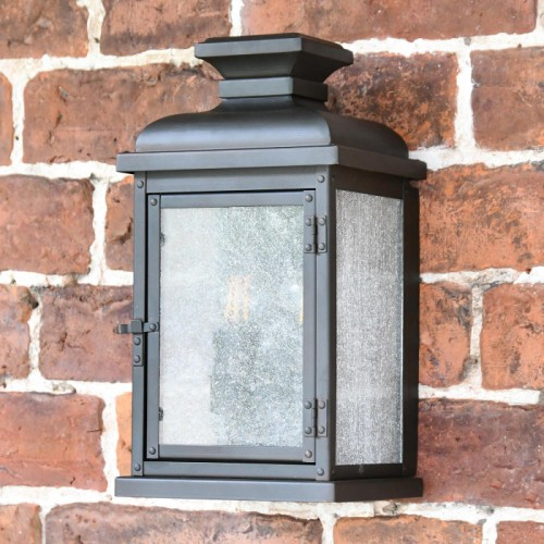 York Traditional Aged Copper Wall Lantern in Situ on a Brick Wall