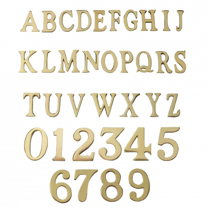 1 5 2 Inch Self Adhesive Numbers Letters Polished Brass Solid Brass Black Country Metalworks