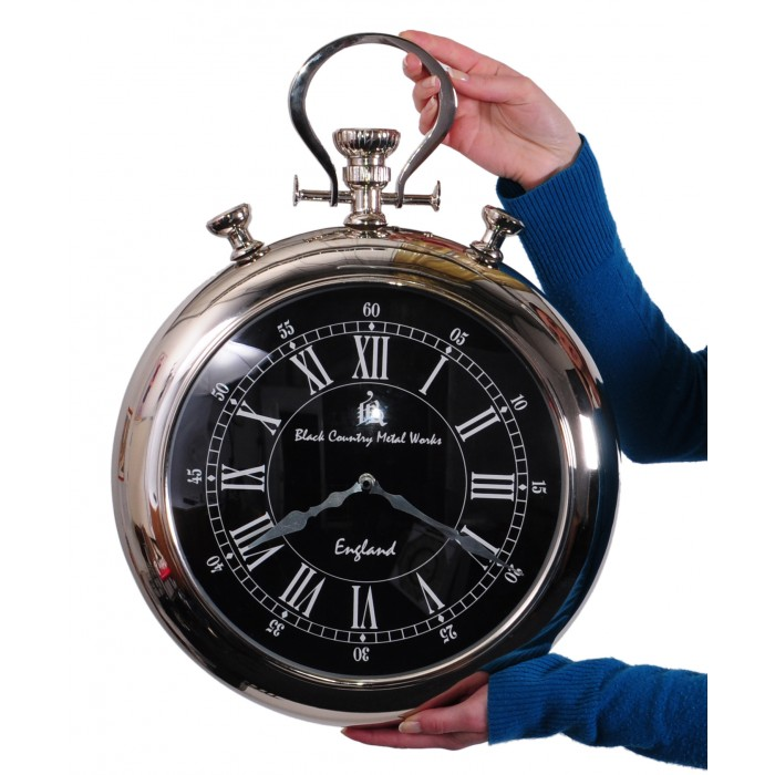 Black Country Metal Works Stop Watch Style Clock Black