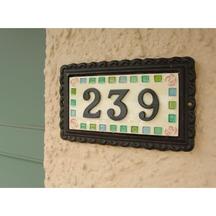 rose mosaic large black iron ceramic house sign. Black Bedroom Furniture Sets. Home Design Ideas