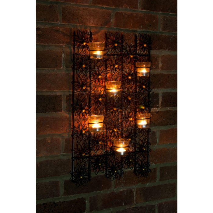 Wall Hung Tea Light Holders : Flower Wall Mounted Tea Light Holder Black Country Metal Works
