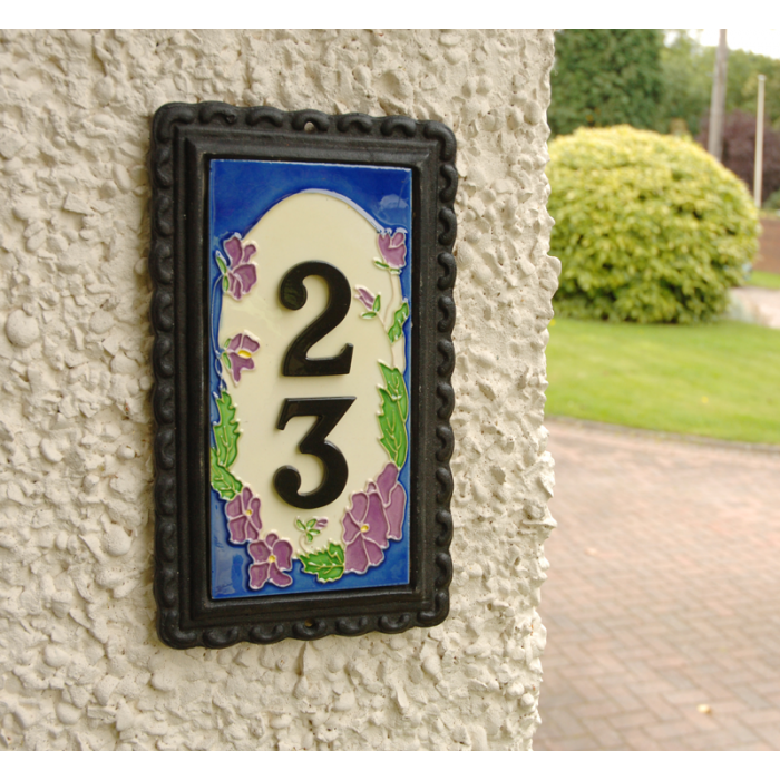 """Spring Lilac"" House Number Plaque Iron & Ceramic"
