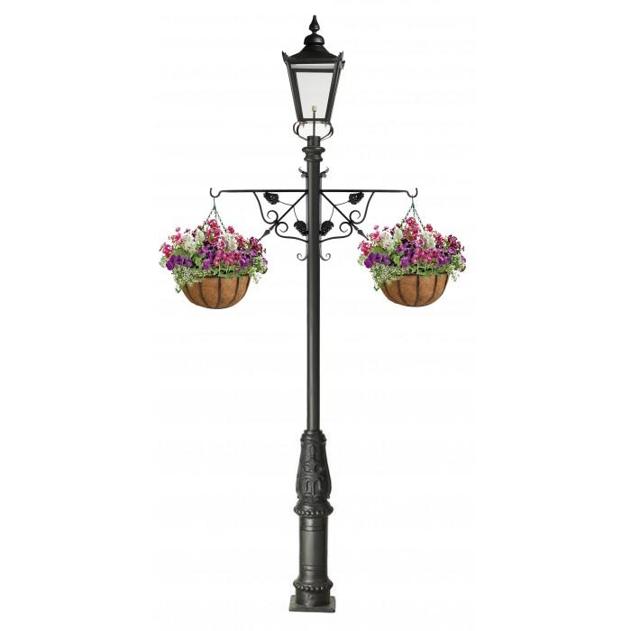 Simplistic Victorian Entrance Pillar Light: Grape Vine Hanging Basket Bracket