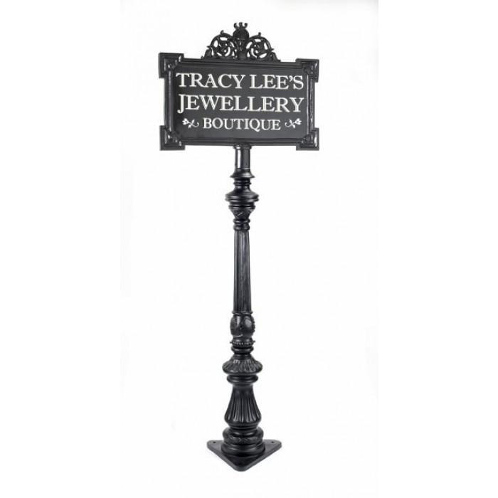 The Leominster Sign Post Black, Lamp Post Address Sign