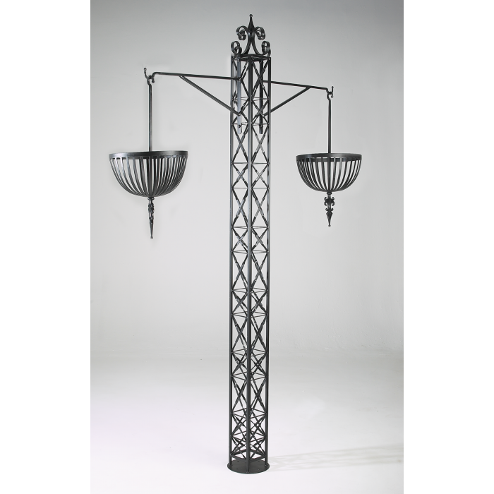 Flower Tower Hanging Baskets : Hanging baskets with ornate eiffel flower tower black