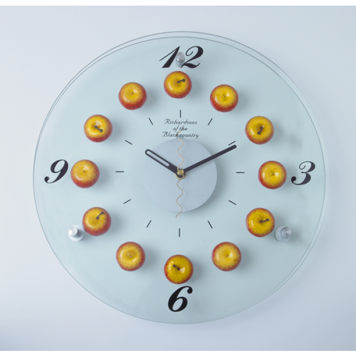 Red Apple Wall Clock Black Country Metal Works