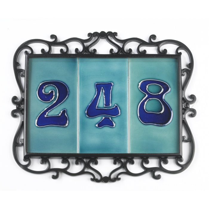 Treble black ornate number tile frame iron brass for House number frames