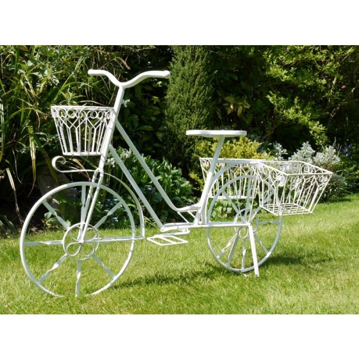U201cElmstead Gardensu201d Antique White Bike Planter