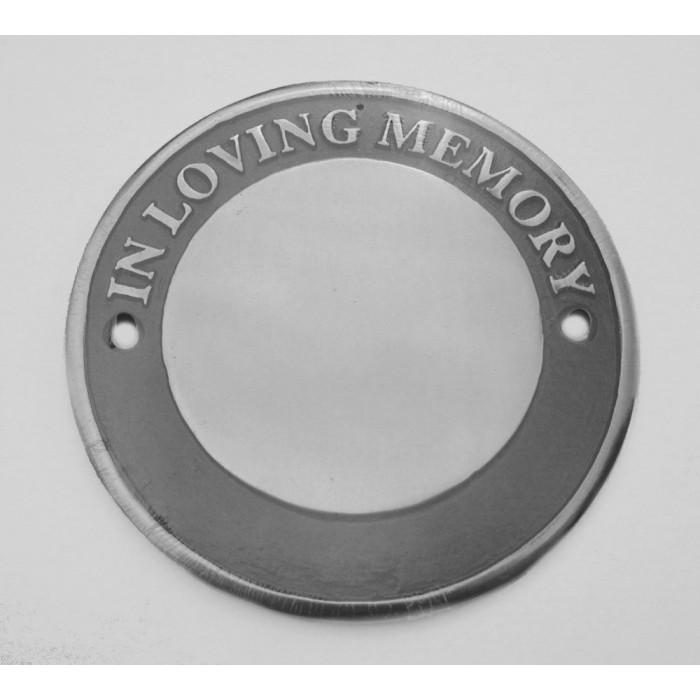 polished aluminium circular bench memorial plaque. Black Bedroom Furniture Sets. Home Design Ideas
