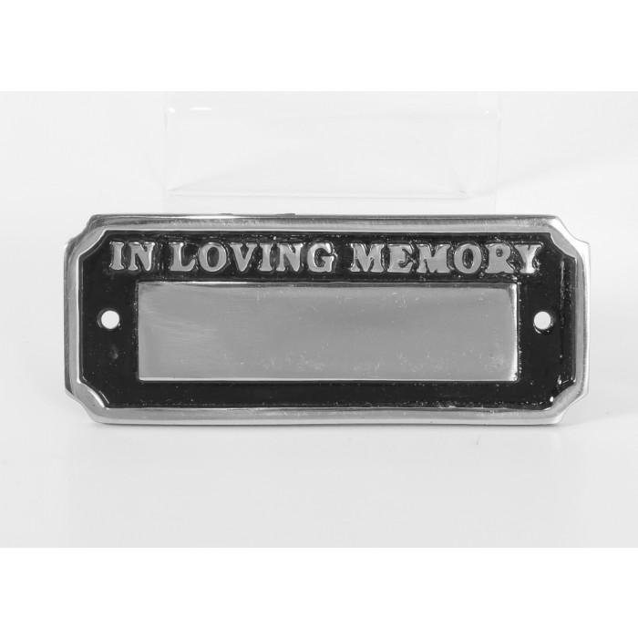 polished aluminium in loving memory bench sign memorial. Black Bedroom Furniture Sets. Home Design Ideas