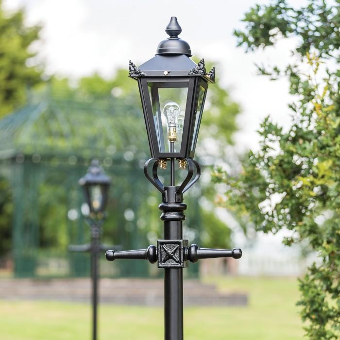 Simplistic Victorian Entrance Pillar Light: Victorian Lamp Post - Black 2.3m