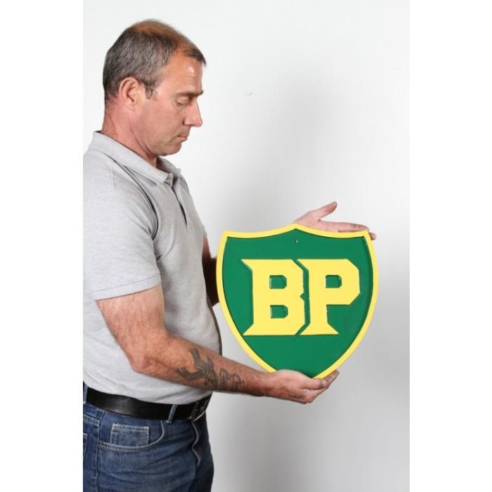 BP Cast Aluminium British Petroleum Enamelled Petrol Plaque
