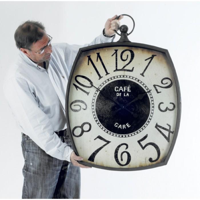 Cafe De La Gare Clock Giant Fob Wall Clock Black