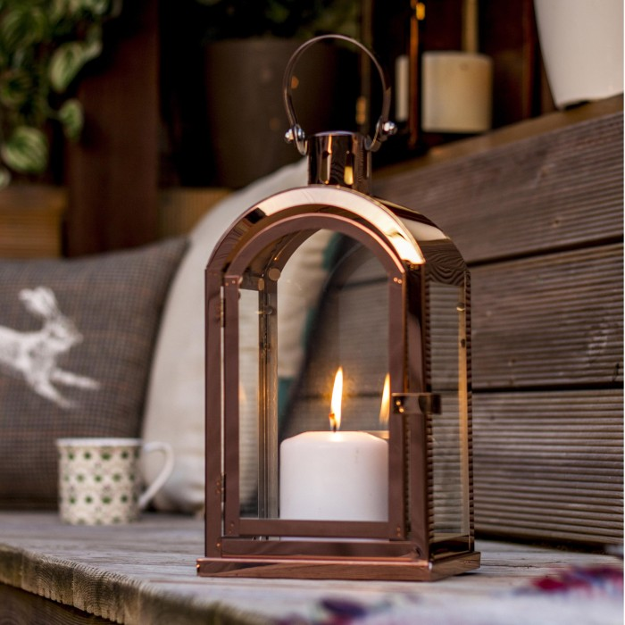Copper Finish Arched Candle Lantern, Outdoor Candle Lanterns Uk