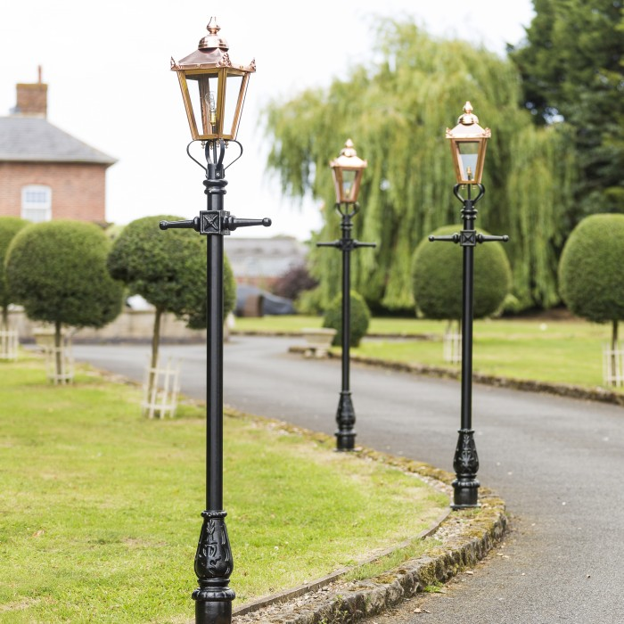 Victorian lamp post copper 23m black country metal works set of copper victorian lamp posts 23m on driveway mozeypictures Images