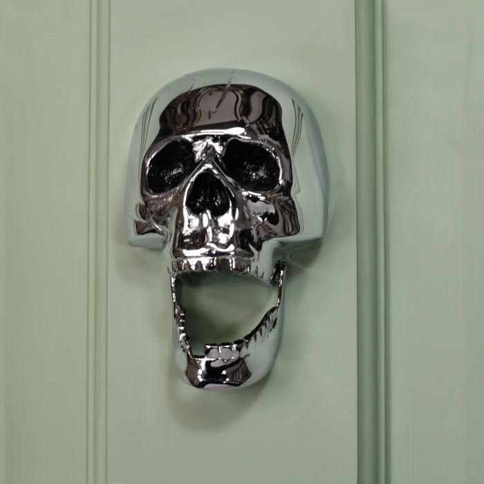 Bright Chrome Skull Door Knocker Black Country Metalworks