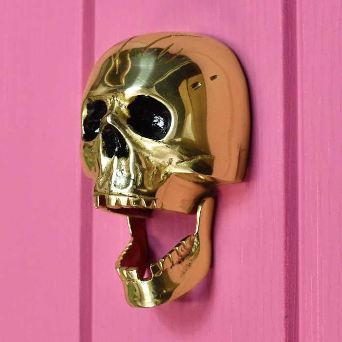 Bright Chrome Skull Door Knocker Supplied With Fixings