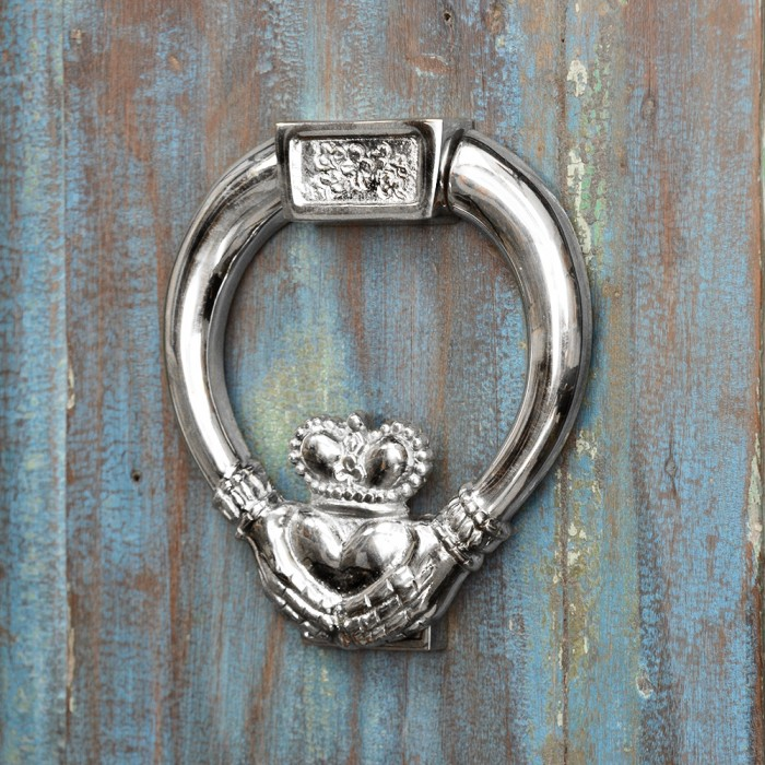 Bright Chrome Claddagh Door Knocker Black Country Metal Works