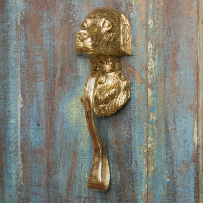 Stunning Polished Brass Dog Door Knocker Black Country Metal Works