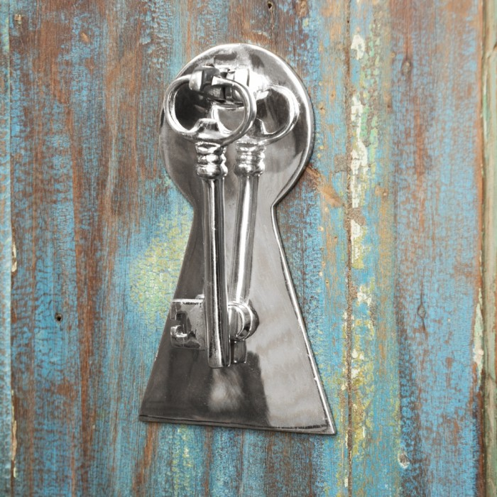 Bright Chrome Key Door Knocker With Back Plate Black Country Metal