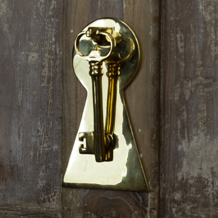 Superieur ... Polished Brass Key Door Knocker With Back Plate ...
