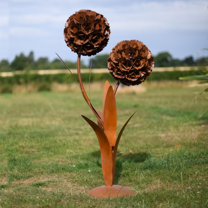 Large Rustic Dual Garden Flower Sculpture ...