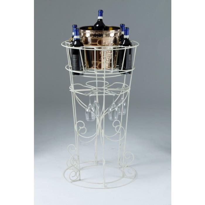 Deluxe Lynelle Cream Floor Standing Wine Amp Glass Rack