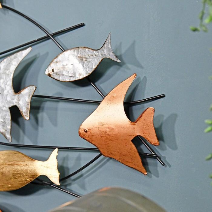 Metallic Swimming Fish Wall Art Black Country Metalworks