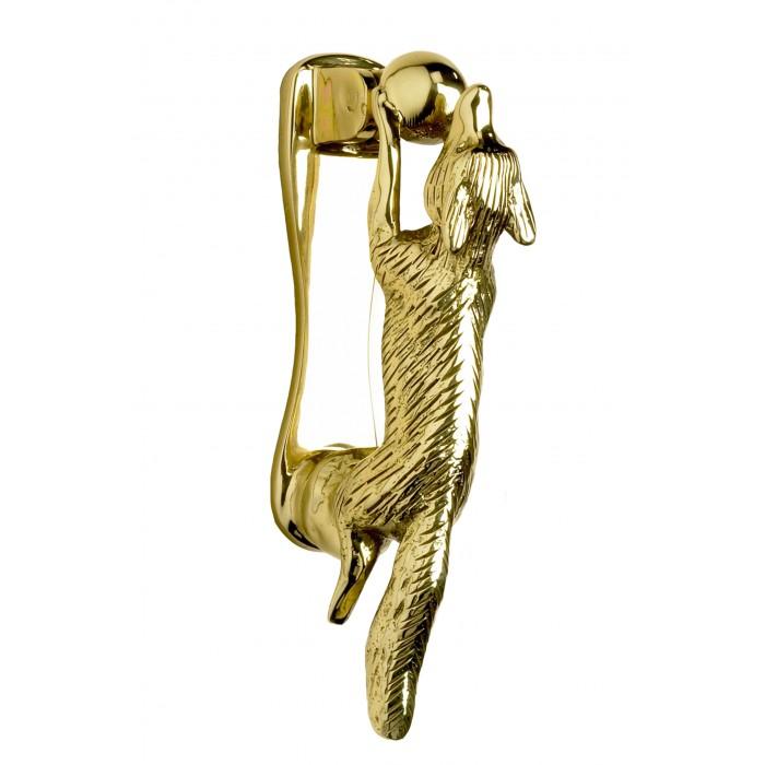 Polished brass running fox door knocker brass door for Door knockers uk