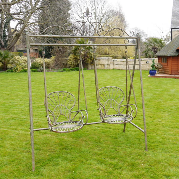 Rustic Ornate Garden Swing Seat For Two Black Country Metal Works