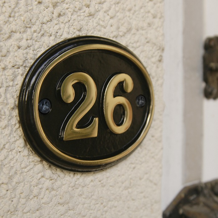 Polished Brass Black Oval House Number Sign Black Country Metalworks