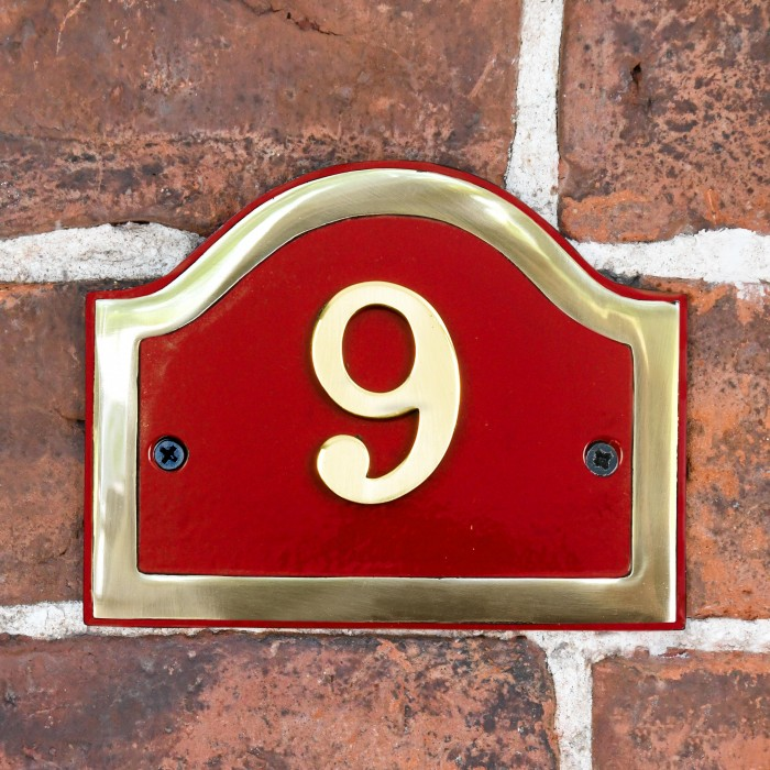 Arched House Number Sign Claret Brass Black Country Metalworks