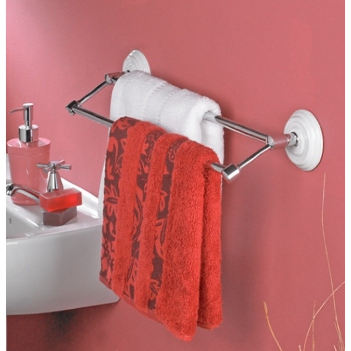 The heritage porcelain white and chrome double towel rail - Black and chrome bathroom accessories ...