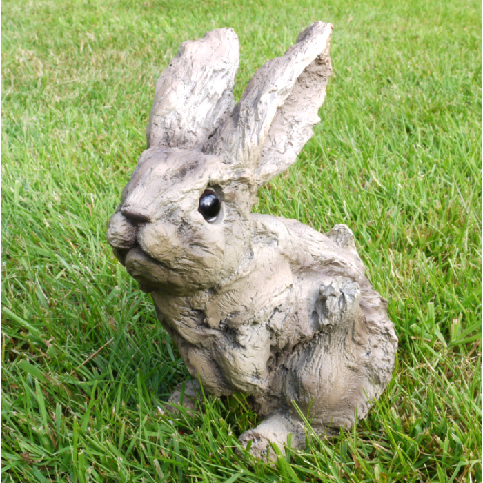 Garden Ornament Rabbit Hare Indoor Outdoor Wood Effect LARGE AND SMALL
