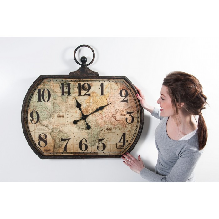 Mariners Map Wall Clock Black Country Metal Works