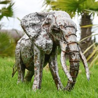 1ft Recycled Metal Elephant with Trunk Down