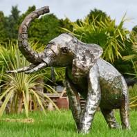 2ft Elephant Recycled Metal Garden Sculpture