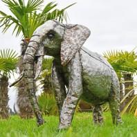 2ft Elephant Recycled Metal Garden Sculpture - Trunk Down