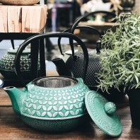 Green Cast Iron Teapot