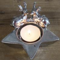 Christmas Star & Stag Tea Light Holder