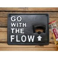 """""""Go With The Flow"""" Iron Wall Mounted Bottle Opener"""