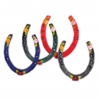 Hand painted horse shoes with flower