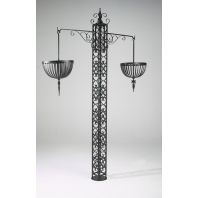 """Wexford"" Free-Standing Ornate Wrought Iron Hanging Basket Tower"