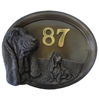 House Number Sign - Bronze Finish - Basset Hound