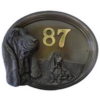 House Number Sign - Bronze Finish - Basset Hound