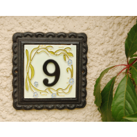 """""""Cornflower Vines"""" Small House Number Sign"""